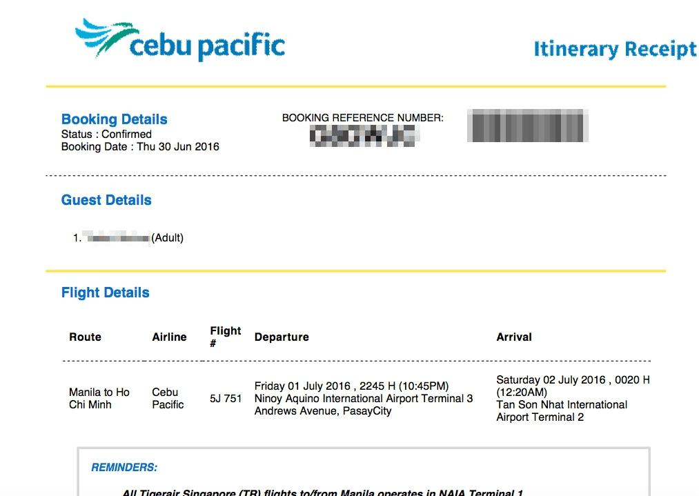 セブパシフィック航空 チケット